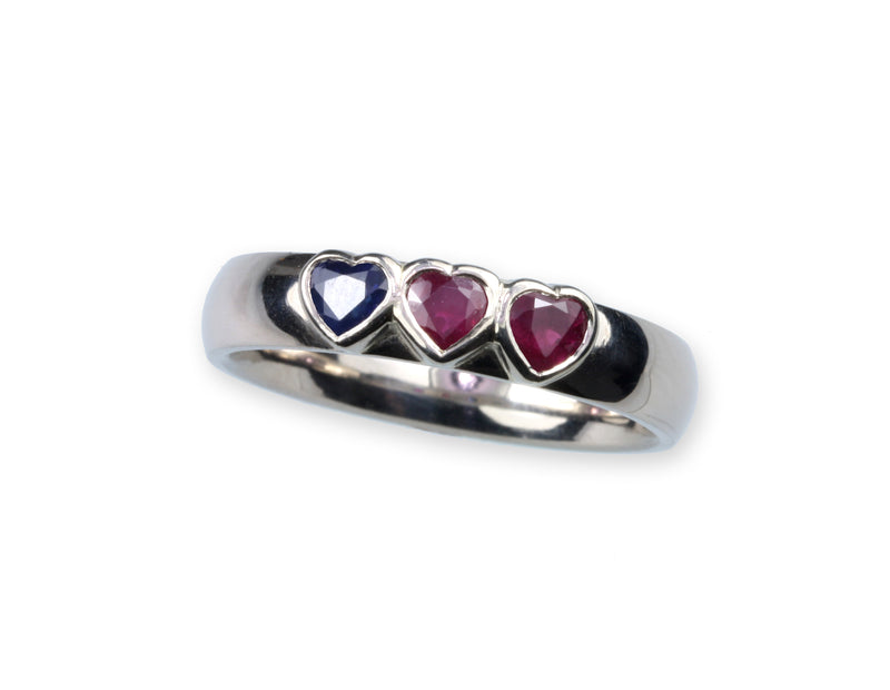 Platinum Wedding Band Set with Heart Shaped Sapphire and Rubies