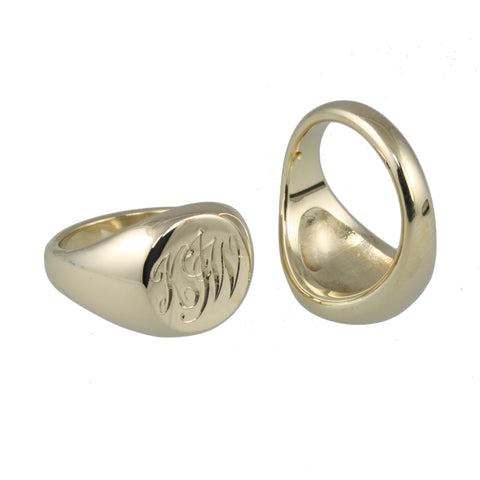 9ct Yellow Gold Engraved Signet Rings
