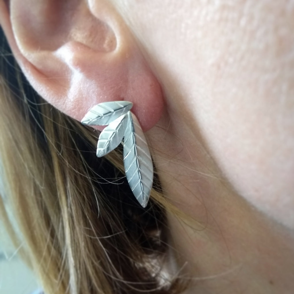 Mismatched Leaf Stud Earrings