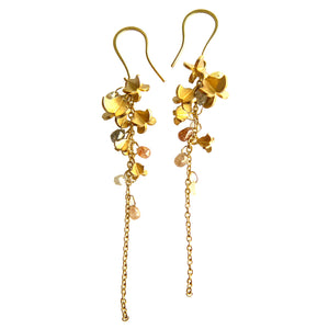 Gold & Sapphire Flower Earrings