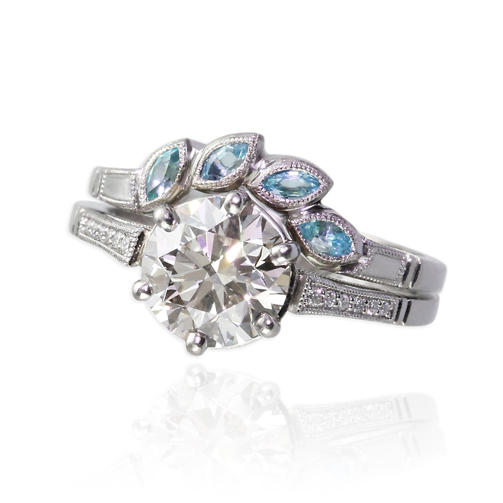 Platinum Ring Set with Paraiba Tourmalines and Diamonds