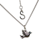 Platinum Dove Necklace with Blue Diamond