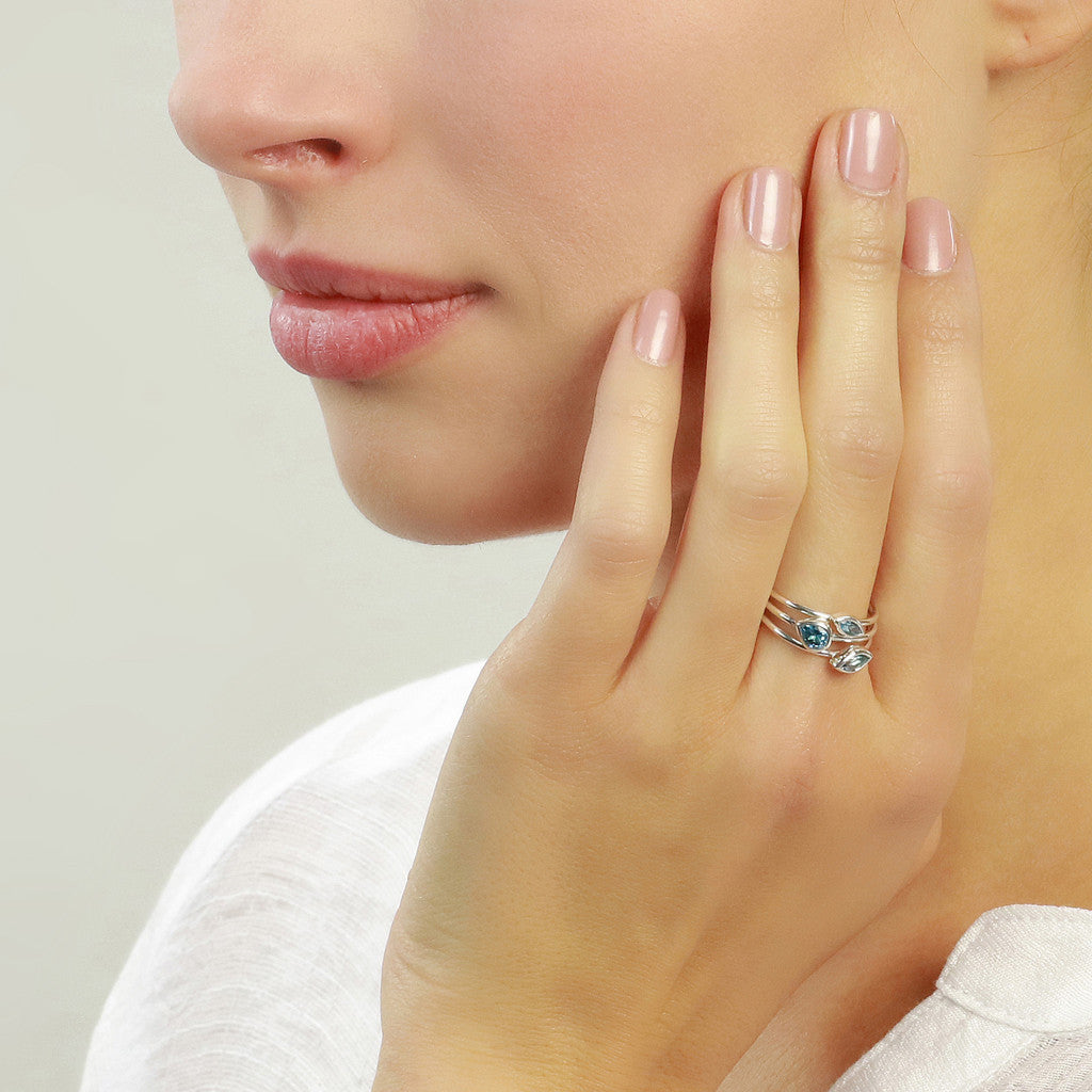 Stacking Rings with blue topaz