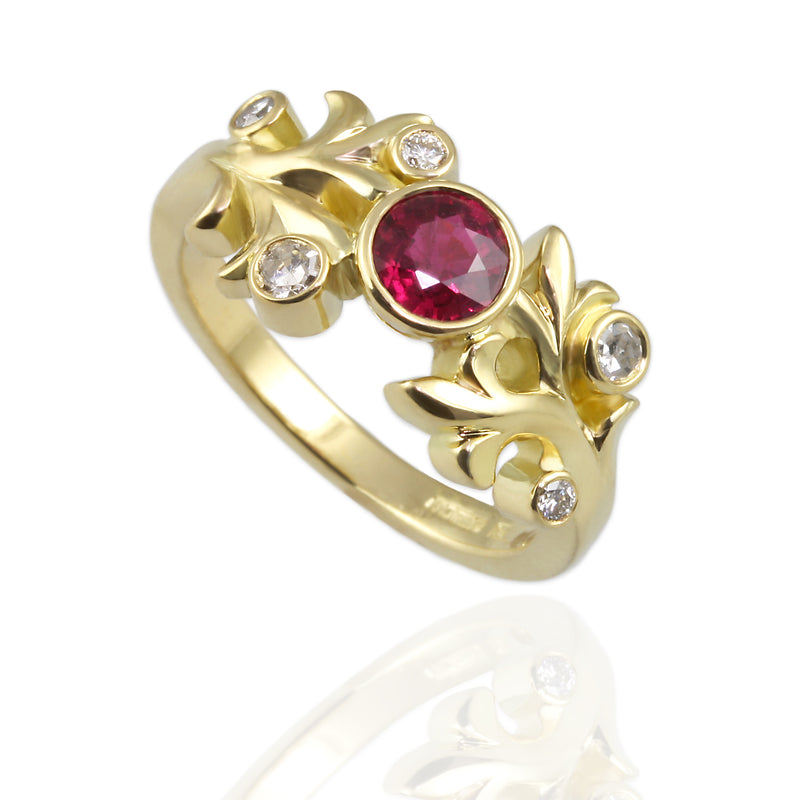 Ruby, Diamonds Leaf design, 18ct Yellow Gold Ring