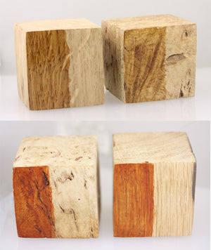 18ct White Gold and Burr Oak Wood