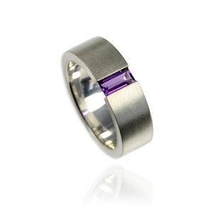Sterling Silver Tension Set Ring with Amethyst