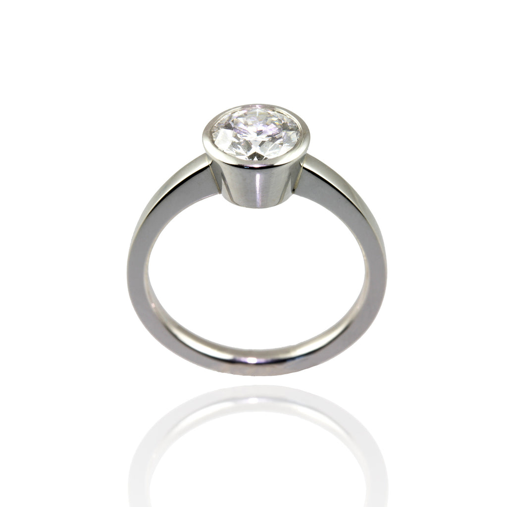 Platinum with Bezel Set Diamond Ring