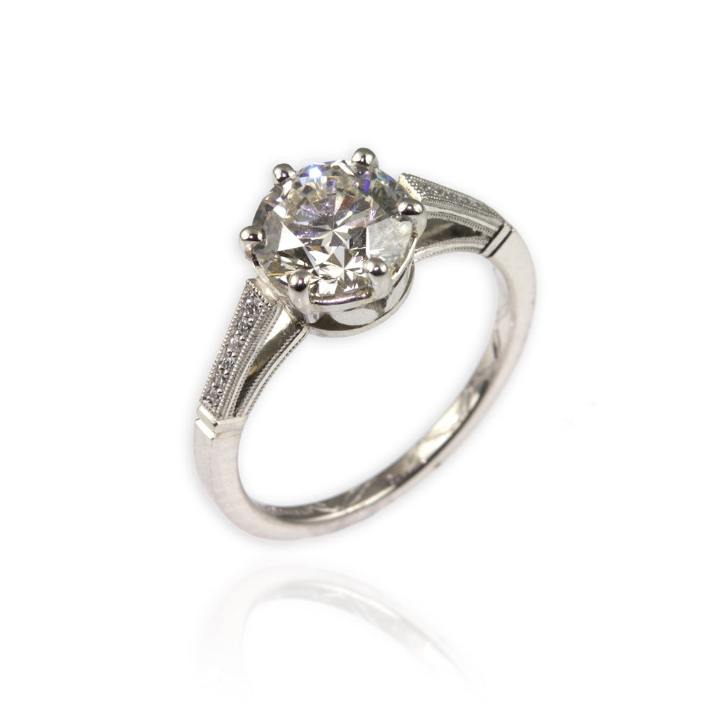 Engagement Ring with milgrain shoulders