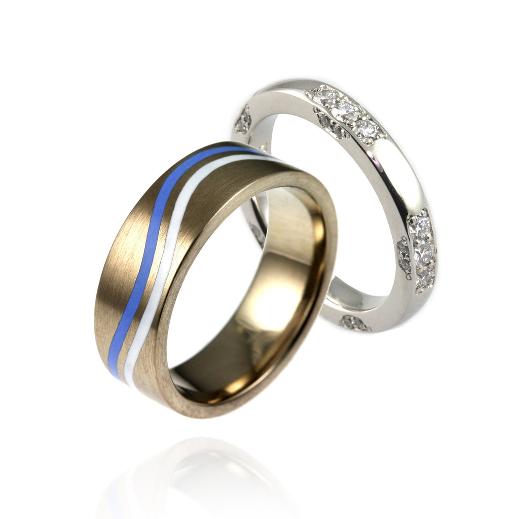 Platinum, Diamonds & Enamel Ring Set