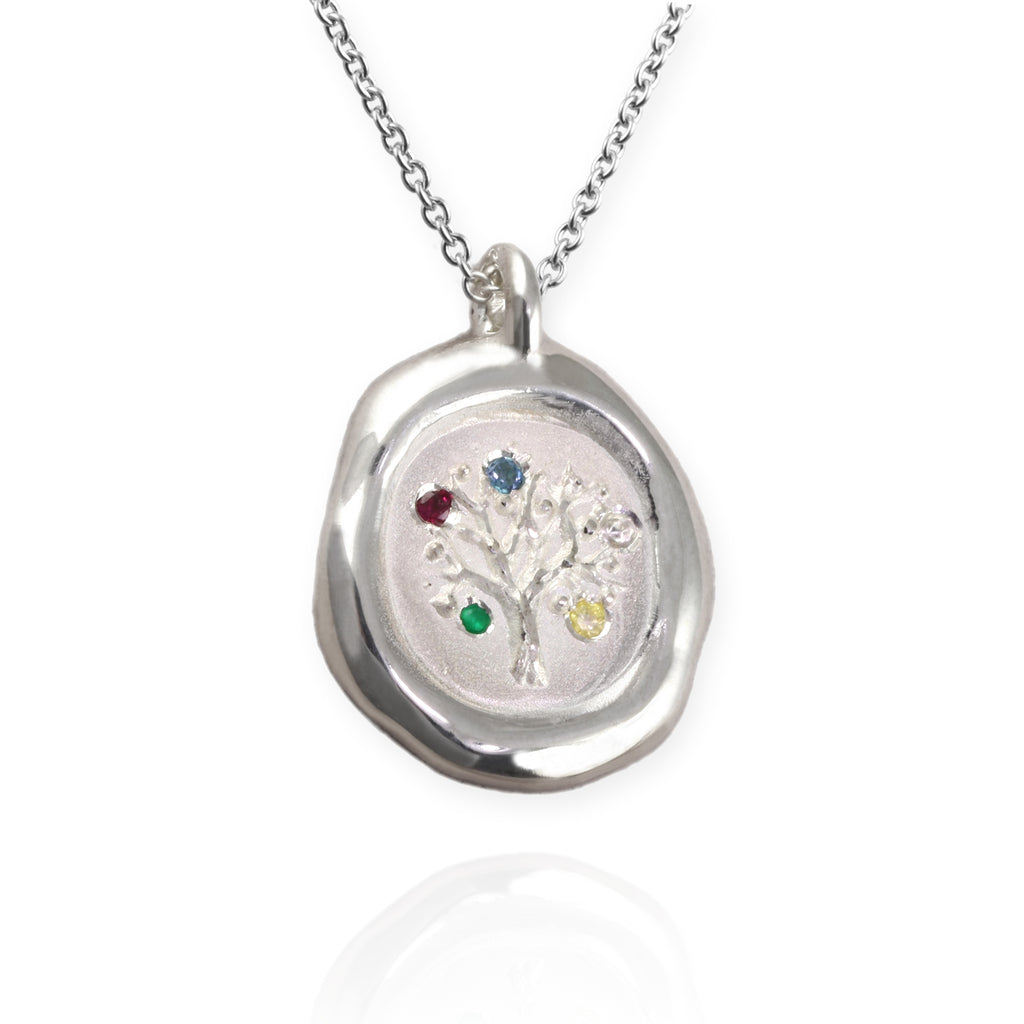 Family Tree Pendant with Birthstones