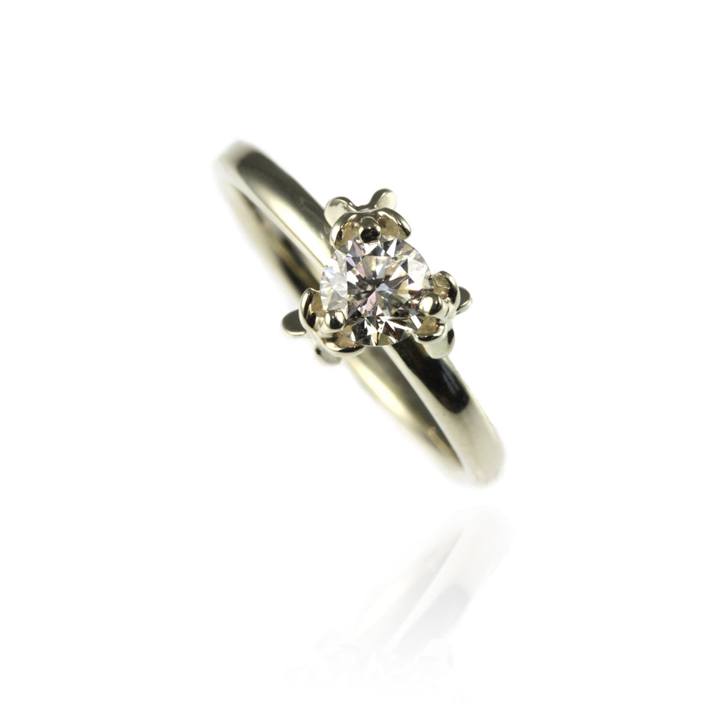 Trillion Cut Diamond Flower Engagement Ring