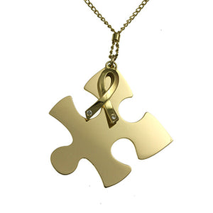 18ct Yellow Gold Autism Pendant with Diamonds
