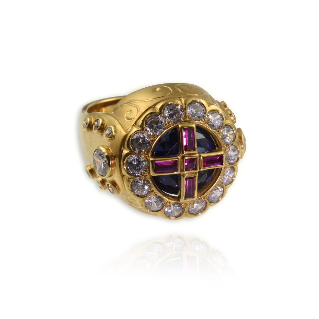 Gold Vermeil, Ruby and Sapphire King Ring