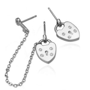 Asymmetric Padlock Heart Earrings