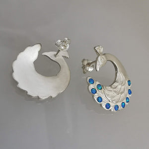 Peacock Earrings with cultured Opals