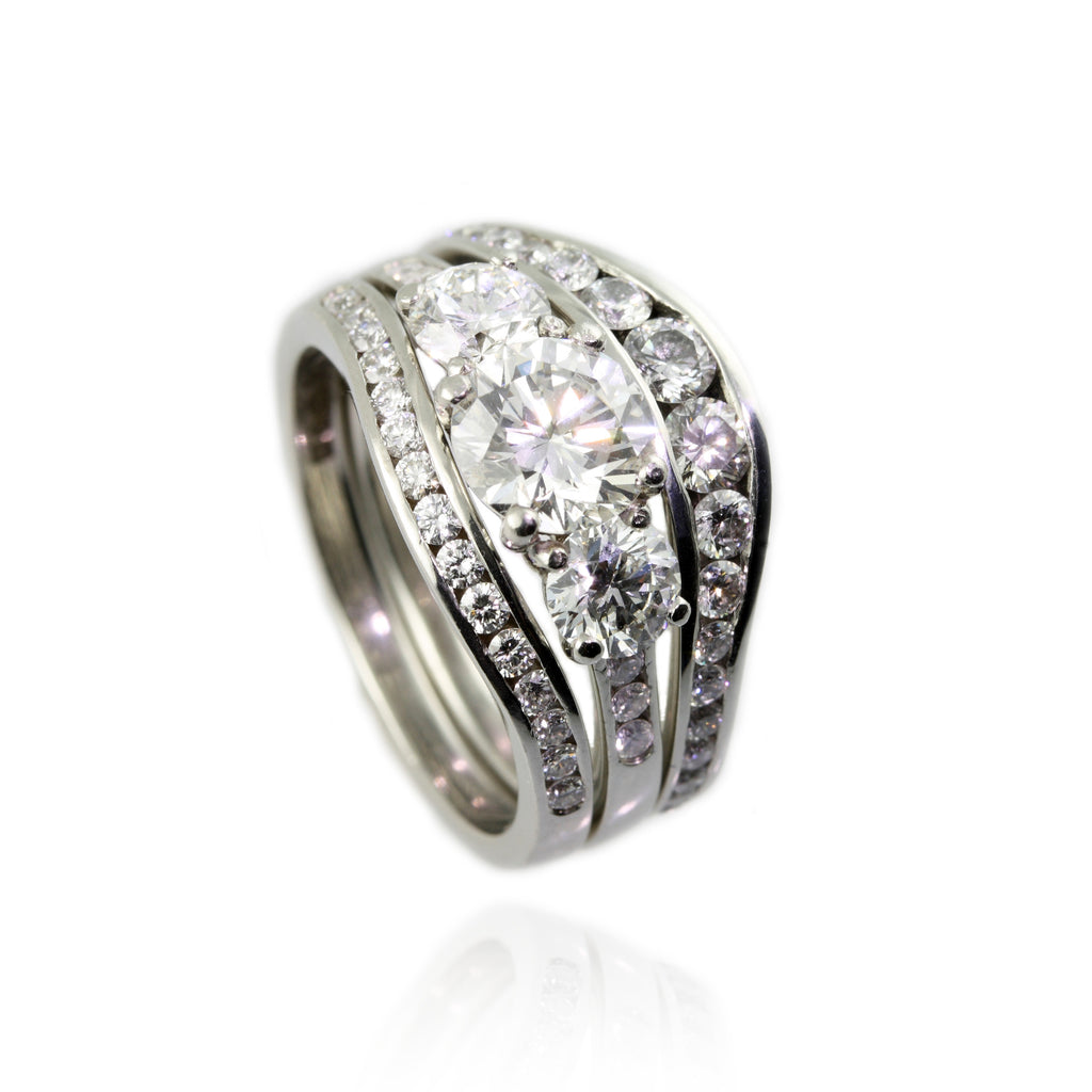 Wedding engagement and eternity ring sets