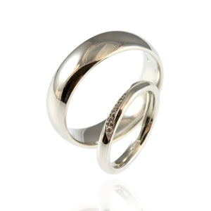 Platinum Wedding Bands with Diamond Wave