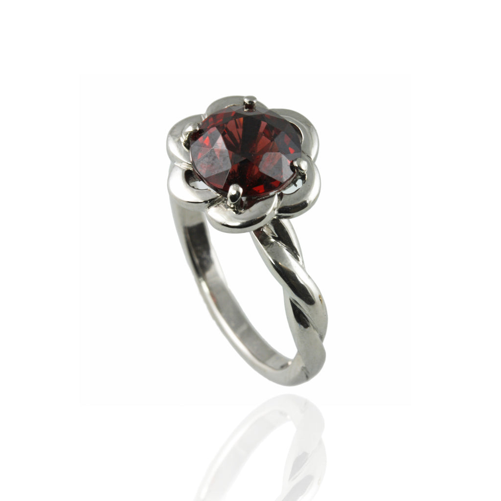 Platinum & Garnet Engagement Ring