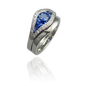 Platinum Wedding Ring and Engagement Ring with Sapphire and Diamonds