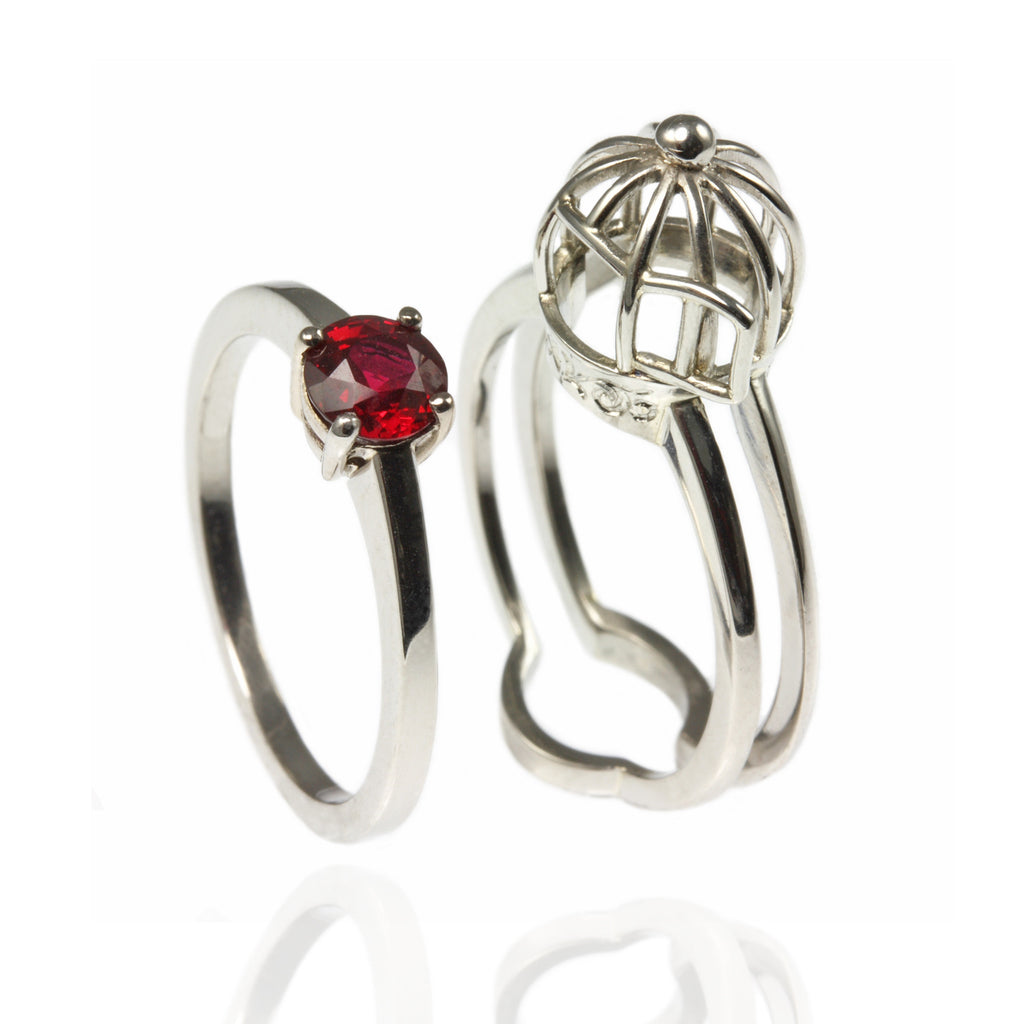 Platinum & Ruby Bird Cage Ring