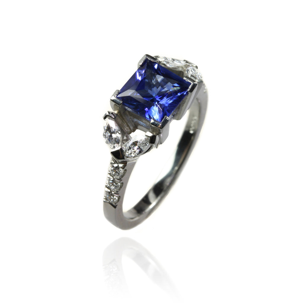 Platinum with Sapphires Engagement Ring