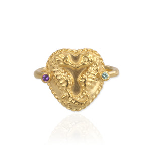 Seahorse Ring with Birthstones