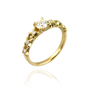 Gold Flowers & Diamonds Engagement Ring