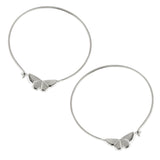 Butterfly Hoop Earrings with Gemstones