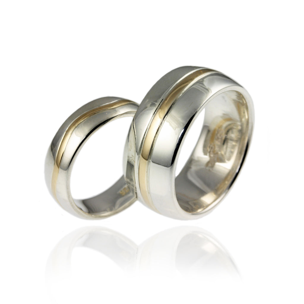 Silver and 9ct Gold Wedding Bands