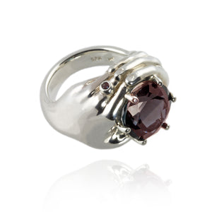 Silver Hands Ring with Garnet