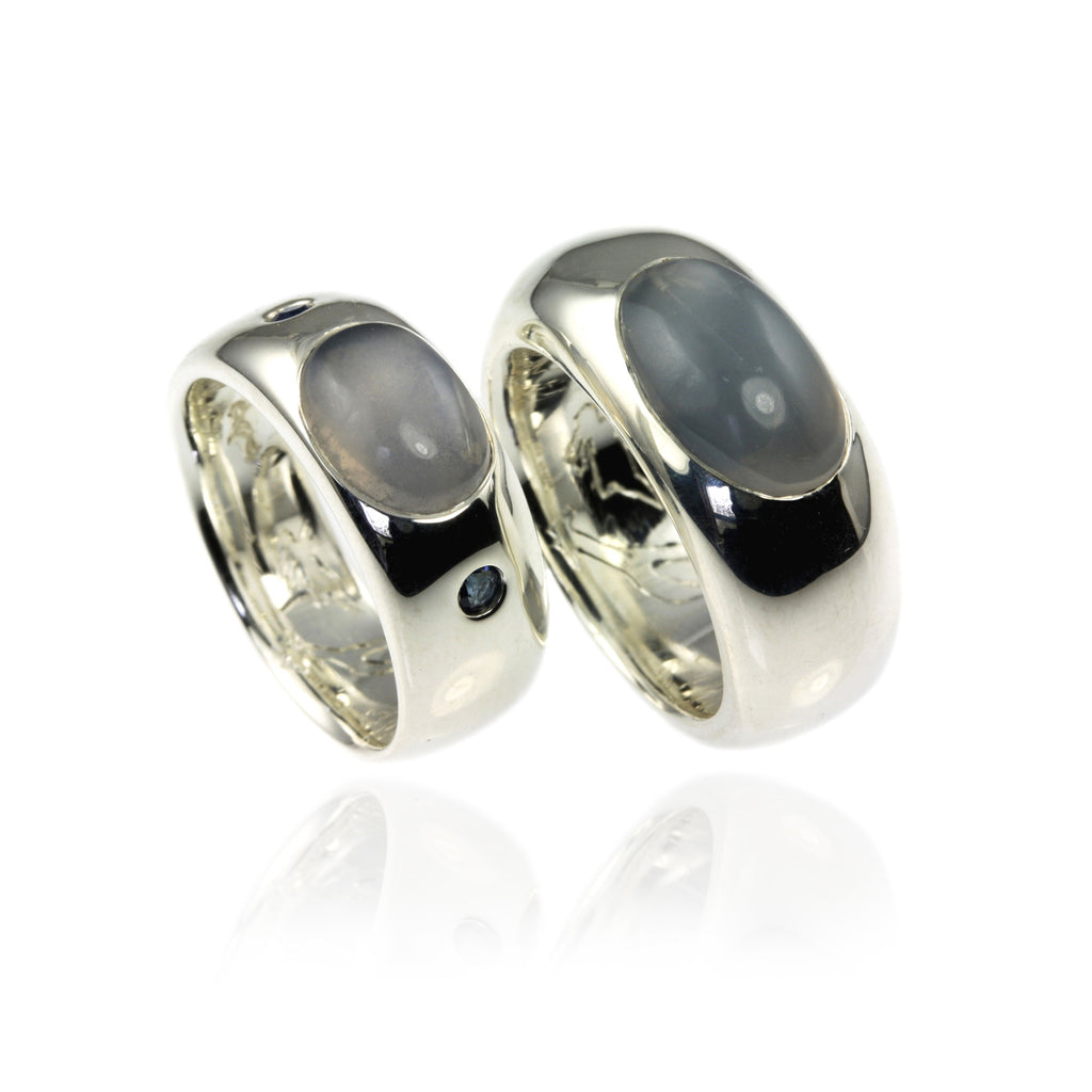 Silver Wedding Bands with Moonstone and Sapphire