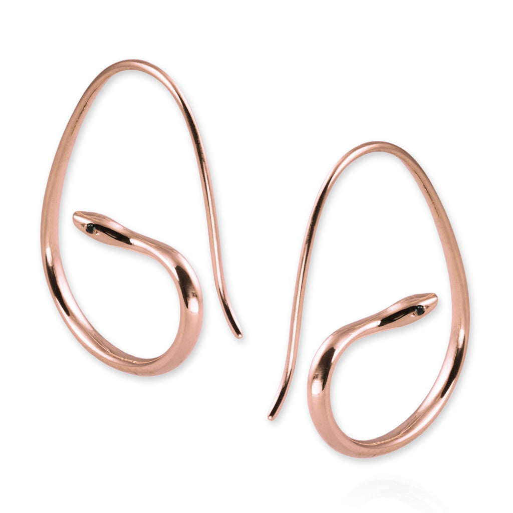 Snake Hoop Earrings with black diamonds - Jana Reinhardt Ltd - 1