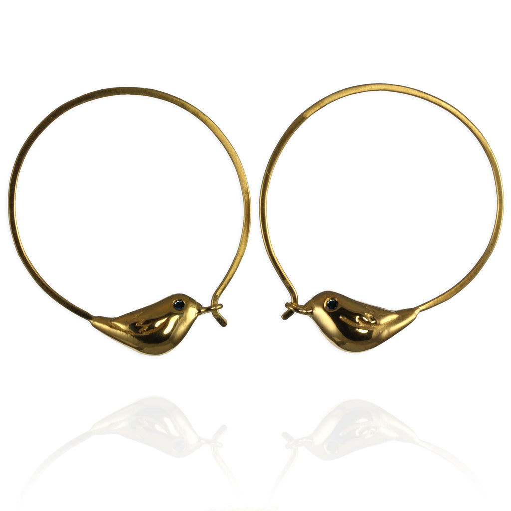 Gold Sparrow Hoop Earrings - Jana Reinhardt Ltd - 1