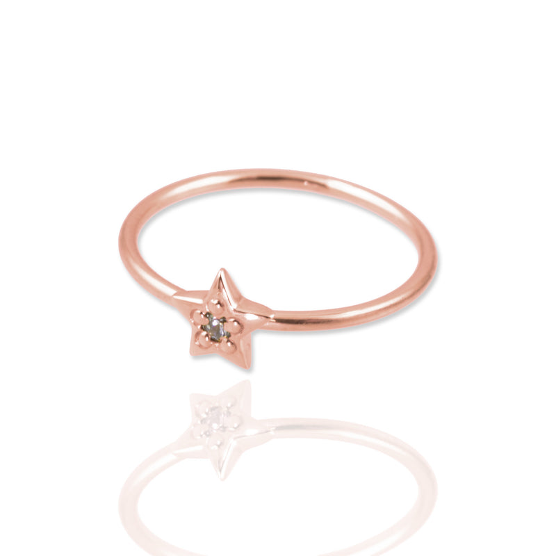 Rose Gold Star Ring size M