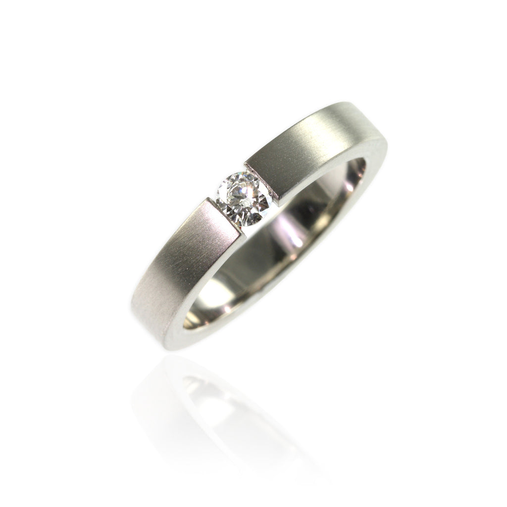 Platinum & Tension Set Diamonds Ring