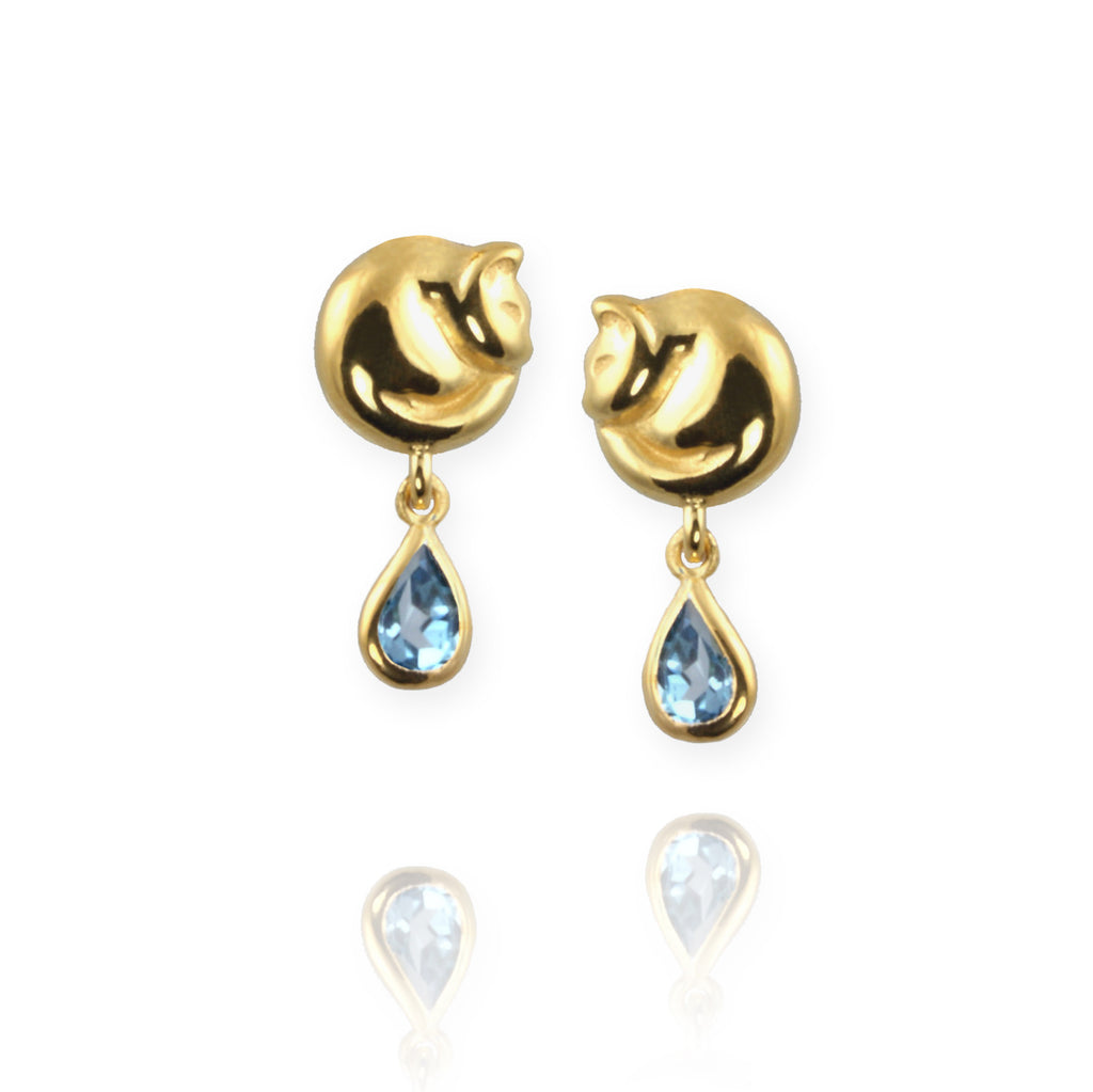 Cat Stud Earrings with blue topaz - Jana Reinhardt Ltd - 3