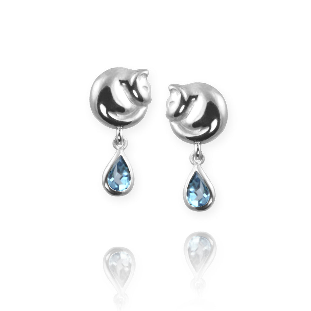 Cat Stud Earrings with blue topaz - Jana Reinhardt Ltd - 4