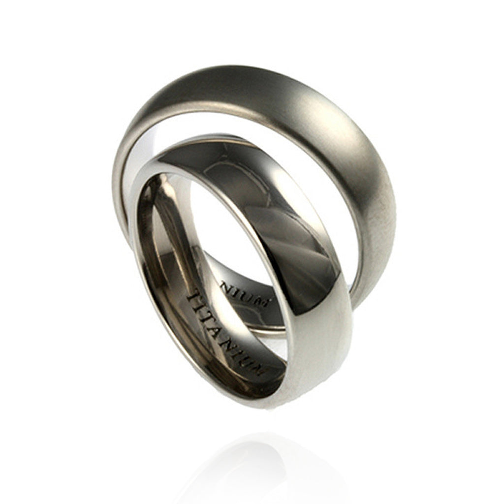 Titanium Wedding Bands - matte and polished finish