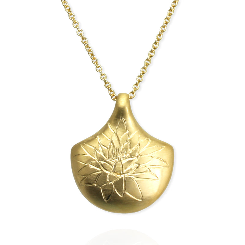 Waterlily Birth Month Flower Pendant in yellow gold vermeil