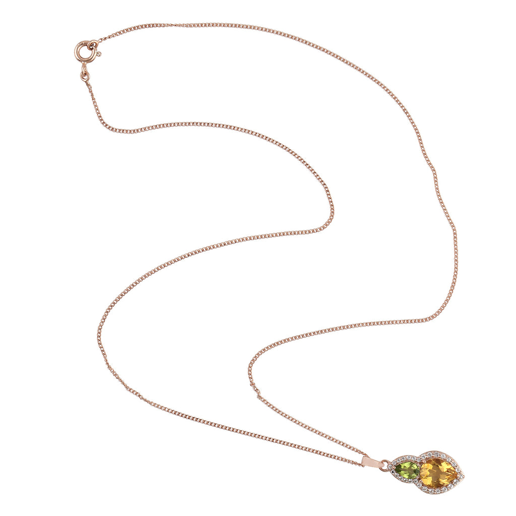 Christmas Gift 2.14Ct Citrine Peridot Topaz 925 Silver Gemstone Necklace
