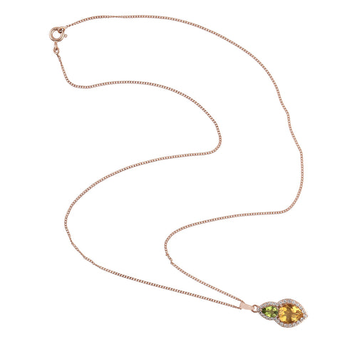 18k Yellow Gold 0.42ct Baguette Diamond Wooden Necklace Handmade Jewelry