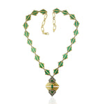 50.06 Malachite Collar Necklace 18K Yellow Gold Diamond 925 Silver Jewelry Christmas Gift