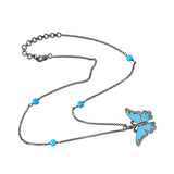 Turquoise Beads 0.52ct Diamond Silver Enamel Butterfly Pendant Choker Necklace