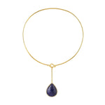 30.62 Natural Tanzanite Collar Necklace 10k Yellow Gold Diamond Jewelry Christmas Gift