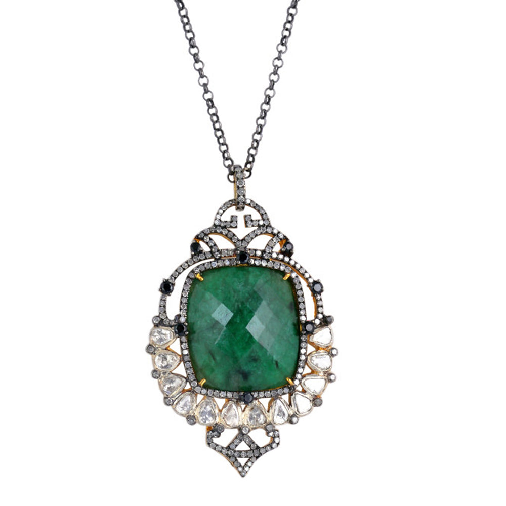 Thanksgiving Gift 32.86 Natural Emerald Opera Necklace 18k Yellow Gold Diamond 925 Silver Jewelry