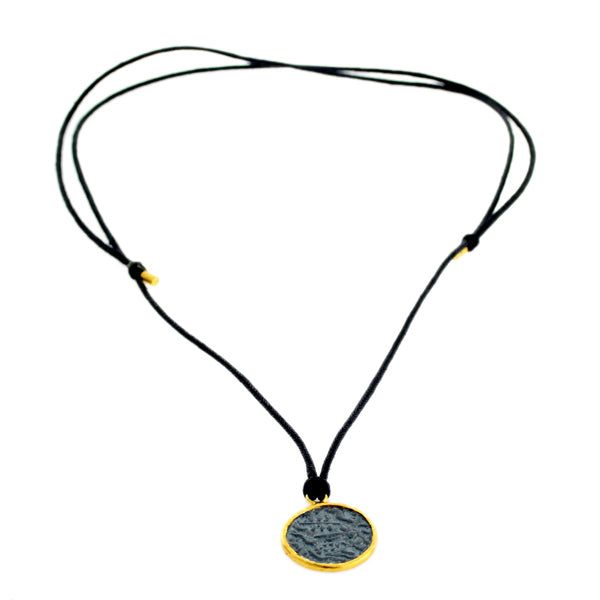 14K Gold 925 Sterling Silver Disc Charm Pendant Macrame Necklace Fashion Jewelry
