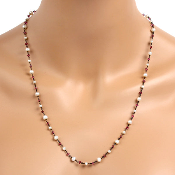 31.33 ct Pearl & Tourmaline Beaded Chain Necklace 925 Sterling Silver Jewelry