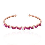 Unique Ruby Cuff Bangle With Rose Gold Mettlle Jewelry - Mettlle
