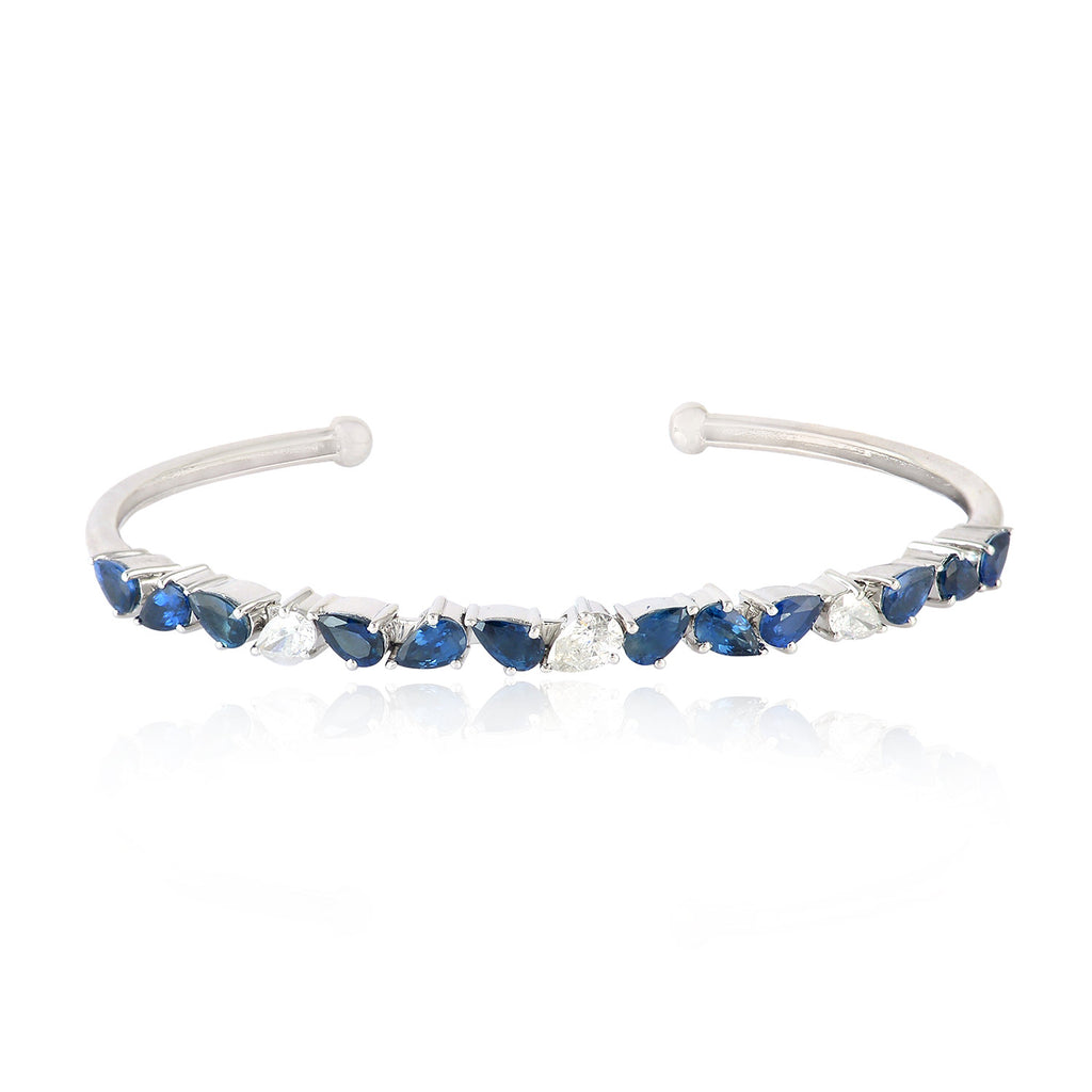 Designer Bangle Sapphire Gemstone With White Gold