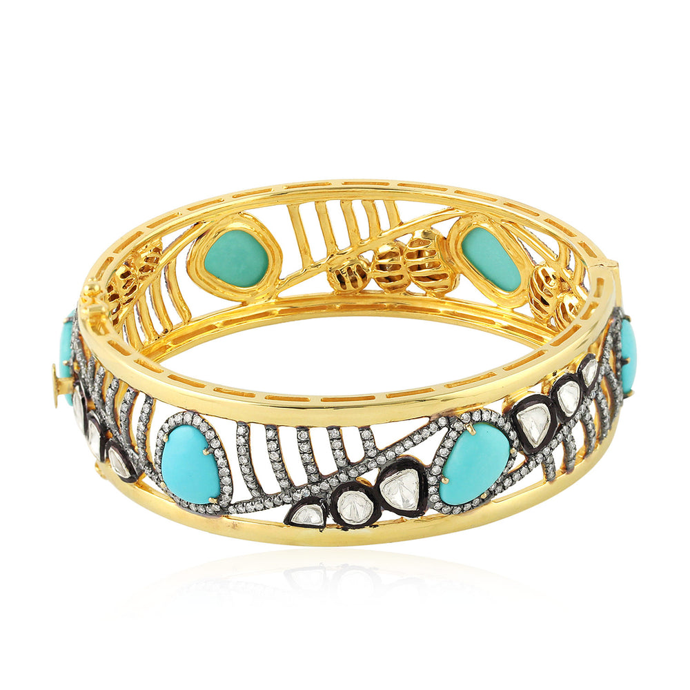 Gold 18Kt Silver 925 2.67 Ct Diamond  Turquoise Bangle December Birthstone Jewelry
